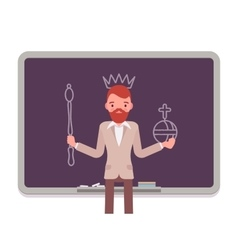 Man against the blackboard with drawn king vector image