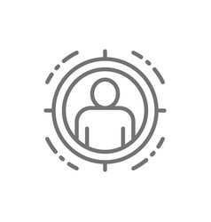Man in target scope identity check line icon vector