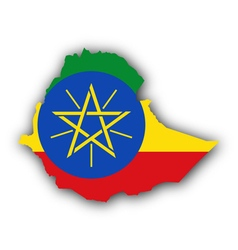 Map and flag of Ethiopia vector