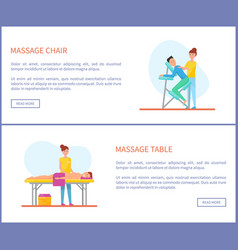 massage chair and table places of treatment vector image