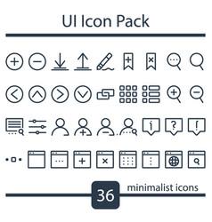 minimalist set ui icons vector image
