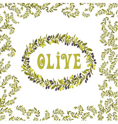 olive oil label green element vector image