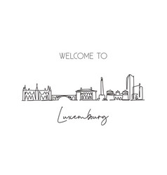 one continuous line drawing luxembourg city vector image