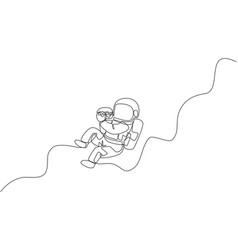 One single line drawing astronaut flying vector