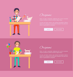 Origami concept web banner with man sit at table vector