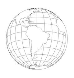 Outline earth globe with map of world focused on vector