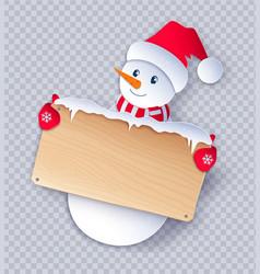 Paper cut cute snowman character vector