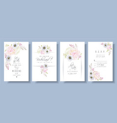 Peony anemone wedding set vector