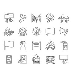People demonstrating simple line icons set vector