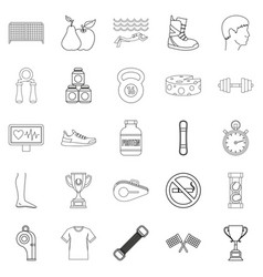 professional sportsman icons set outline style vector image