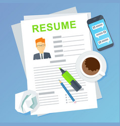 resume of potential employee job seekers and vector image