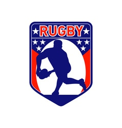 Rugby player passing ball shield vector