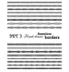 set of seamless floral borders vector image
