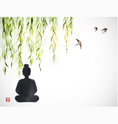 Silhouette buddha under willow and swallows vector