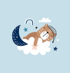 sleeping cute bear on a cloud childishsweet dream vector image