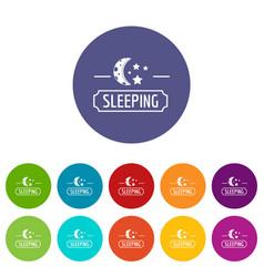 Sleeping moon icons set color vector