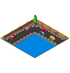 Street corner with many cars vector