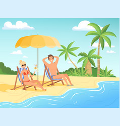 summer characters male and female person have vector image