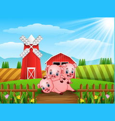 Three little pigs playing together vector