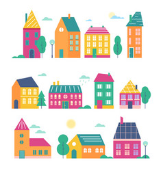 town houses set cartoon flat vector image