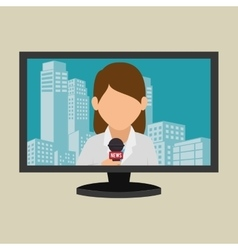 Tv plasma news woman graphic vector