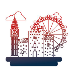 United kingdom big ben castle and london eye vector