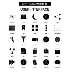 User interface glyph icon set vector