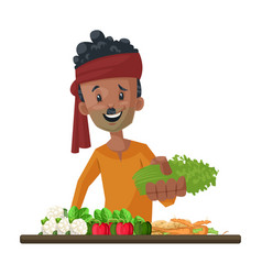 vegetable seller vector image