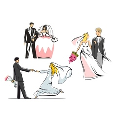 Wedding couples icons vector