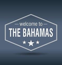 Welcome to The Bahamas hexagonal white vintage vector