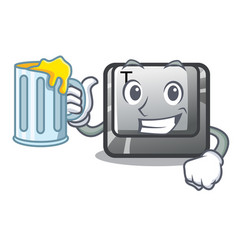 With juice button t in keyboard cartoon vector