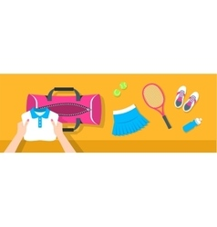 Woman puts tennis stuff into sport bag banner vector