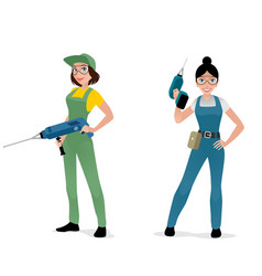 women with construction tools vector image