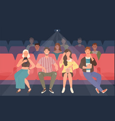 young men and women sitting in chairs at movie vector image