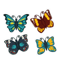 Butterflies colorful flat isolated icons vector