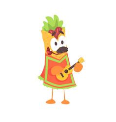 funny cartoon fajita wrap character mexican vector image