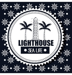 lighthouse sea life background steer graphic vector image vector image