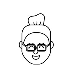 line avatar woman head with hairstyle design vector image vector image