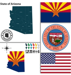 Map of Arizona with seal vector image vector image