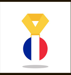 medal with the france flag isolated on white vector image