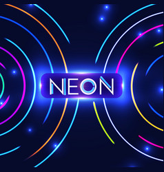 Shining neon circle trendy background colorful vector