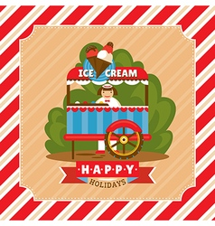 Vintage card with ice cream stand vector
