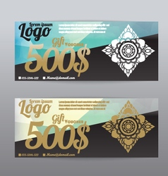 Voucher template modern pattern Thai polygon backg vector image vector image