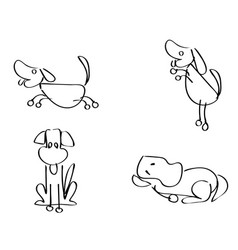 cartoon doodle dogs outline vector image