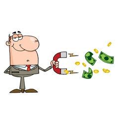 Happy Businessman Using A Magnet To Attracts Money vector image vector image