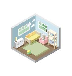 isometric nursery kids room set of nursery vector image