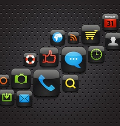 Mobile interface icons abstract background vector image