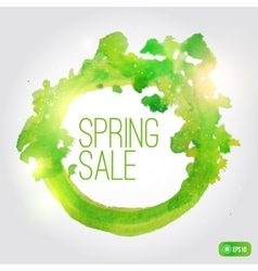 watercolor spring splash banner with leaves vector image