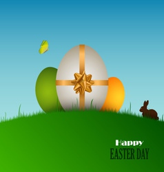 Easter card with eggs in the grass vector image