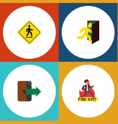flat icon door set of open door direction pointer vector image vector image